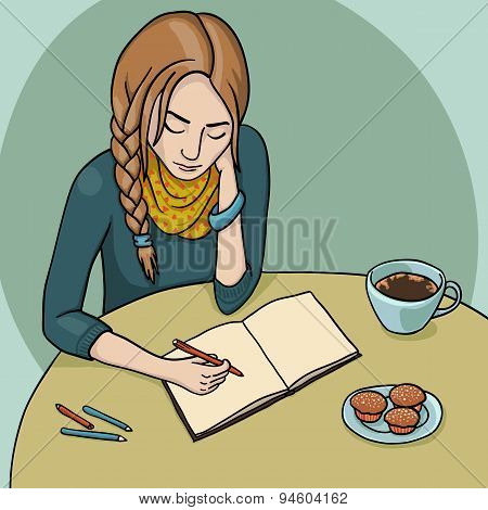 Girl Drawing And Drinking Coffee