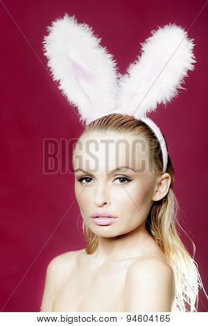 Sexy Blonde With Bunny Ears