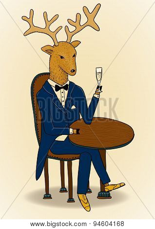Suited Up Deer With Champagne