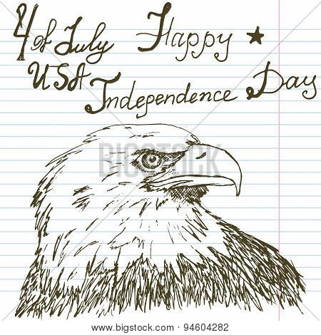 Hand Drawn Sketch American Bald Eagle, Text Happy Independence Day