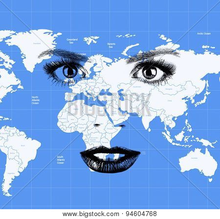 Human face with map of world