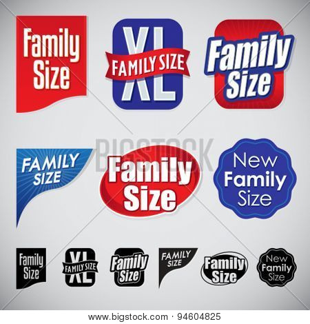Set of Family Size Icons Seals and Corners