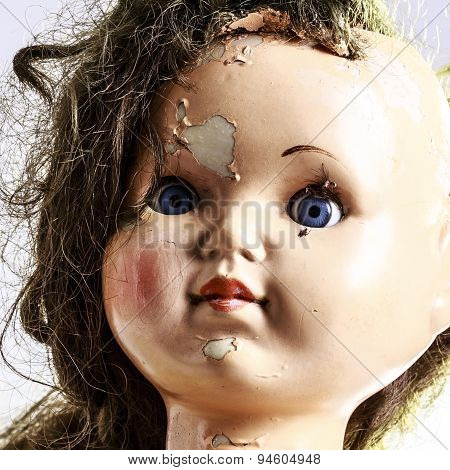 Head Of Beatiful Scary Doll Like From Horror Movie