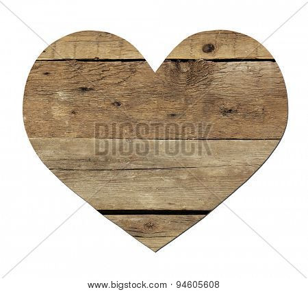 Vintage wooden heart isolated on white