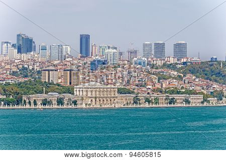 Dolmabahce Palace, View From Bosphorus In Istanbul, Turkey