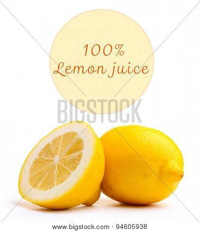 Fresh lemon and space for your text isolated on white