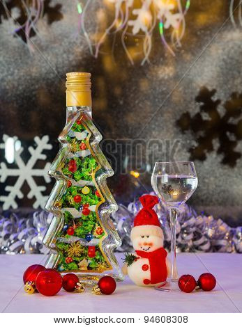 Souvenir Bottle And Christmas Snowman