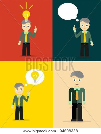Young businessman thinking of his ideas. Set of flat design concepts