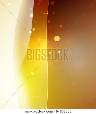 Yellow color shining, waves and lines. Abstract background