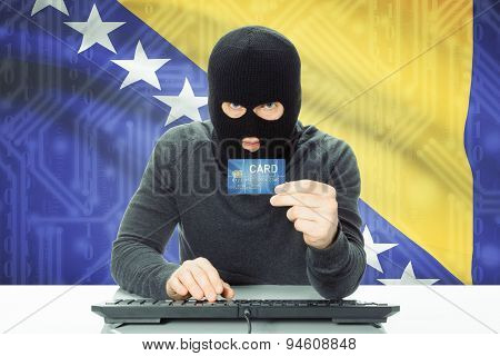 Concept Of Cybercrime With National Flag On Background - Bosnia And Herzegovina