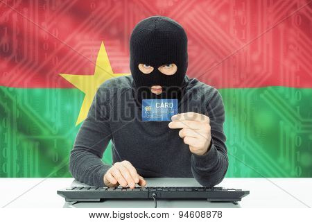 Concept Of Cybercrime With National Flag On Background - Burkina Faso