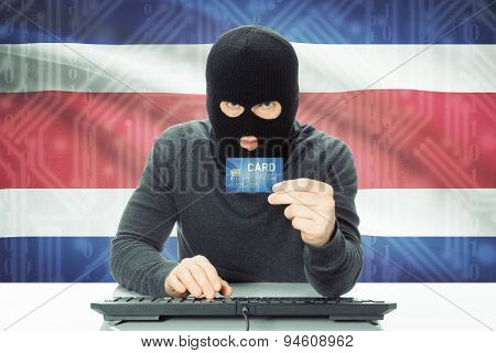 Concept Of Cybercrime With National Flag On Background - Costa Rica