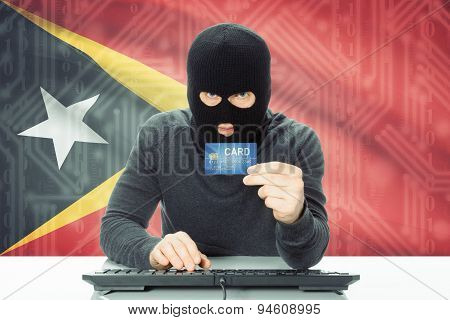 Concept Of Cybercrime With National Flag On Background - East Timor