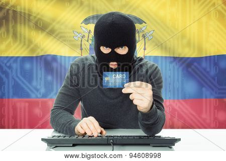 Concept Of Cybercrime With National Flag On Background - Ecuador