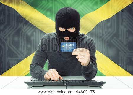 Concept Of Cybercrime With National Flag On Background - Jamaica