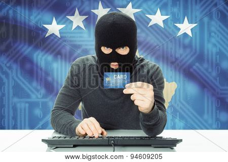 Concept Of Cybercrime With National Flag On Background - Kosovo