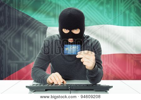 Concept Of Cybercrime With National Flag On Background - Kuwait