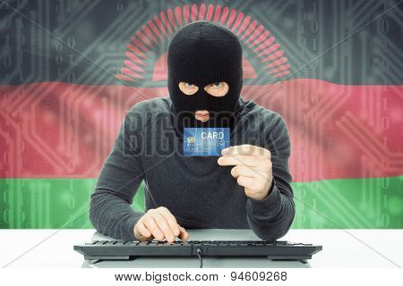 Concept Of Cybercrime With National Flag On Background - Malawi