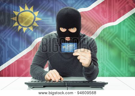 Concept Of Cybercrime With National Flag On Background - Namibia