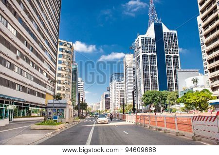 SAO PAULO, BRAZIL - CIRCA JAN 2015: Paulista Avenue in Sao Paulo, Brazil. Paulista is one of the most important avenues in Sao Paulo with 2.8 kilometer of thoroughfare.