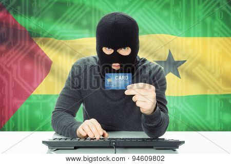 Concept Of Cybercrime With National Flag On Background - Sao Tome And Principe