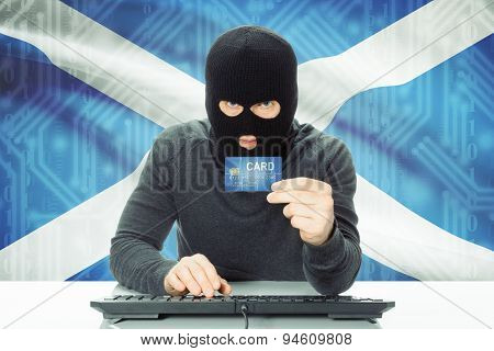Concept Of Cybercrime With National Flag On Background - Scotland