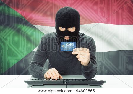 Concept Of Cybercrime With National Flag On Background - Sudan