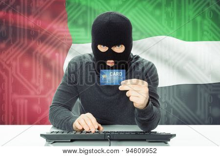 Concept Of Cybercrime With National Flag On Background - United Arab Emirates
