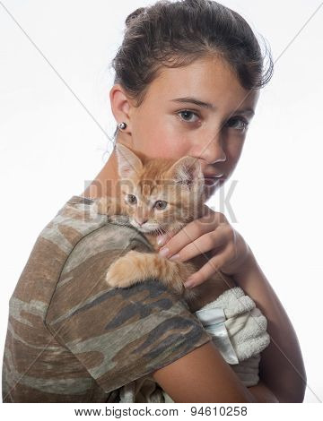 Loving relationship between girl and cat