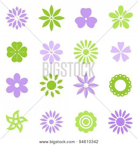 Various colorful flowers vector set