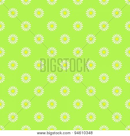 Flower on green seamless pattern background