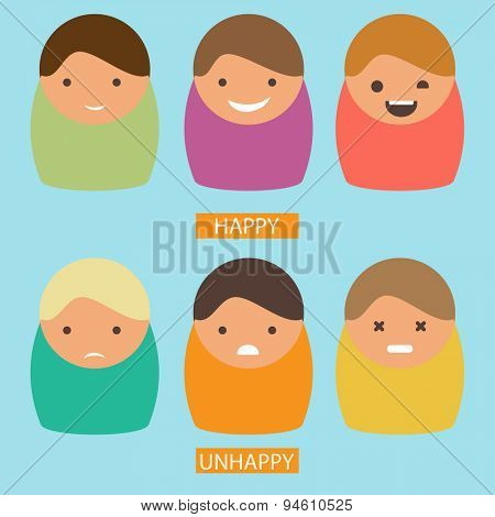 Abstract cartoon icons. Vector set of characters with happy and unhappy emotions. Flat picture.