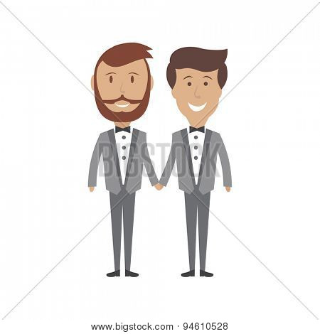 Loving gay male couple wedding card Vector illustration isolated on white background.