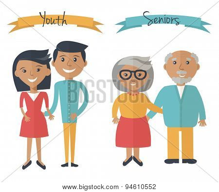 Woman and man couple generations. Family couple at different ages. Youth and seniors people isolated on white. Vector illustration in flat style.