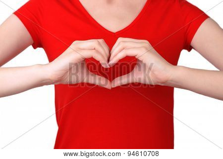Girl with her hands in heart-shaped