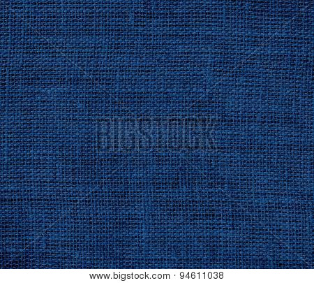 Dark midnight blue burlap texture background