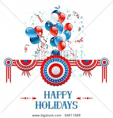 Happy holiday card with decorations and balloons for advertising, leaflet, cards, invitation and so on.