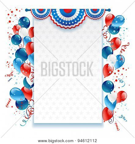 Holiday background with balloons, decorations and confetti. Place for text.