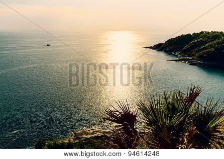 High Angle View Island And Sea At Laem Phromthep On Green Teal Colour Tone