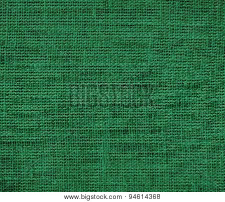 Dark spring green burlap texture background