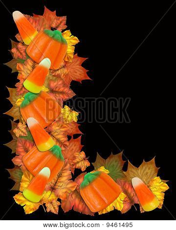 Halloween border candy and leaves