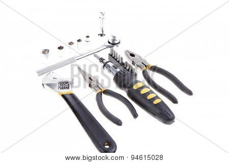 kit of tools include pliers wrench ratchet handle bushs and bit driver