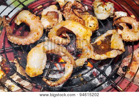 Octopus on the grill in the restaurant