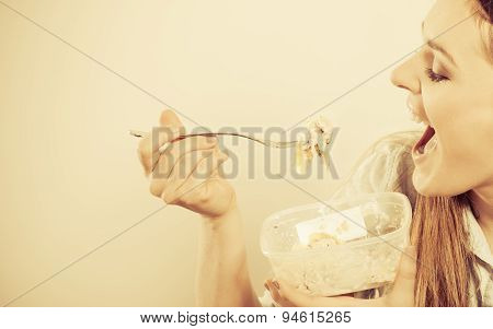 Woman Eating Fresh Vegetable Salad.