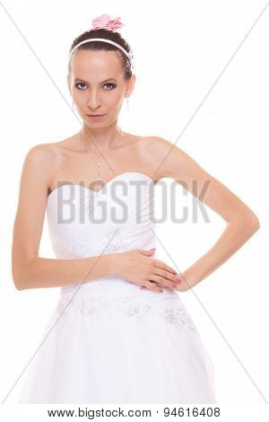 Attractive Pretty Bride In White Wedding Dress.