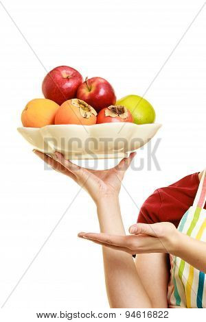 Housewife Or Seller Offering Healthy Fruits Isolated
