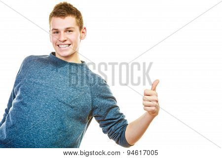 Young Man Showing Thumb Up Hand Sign Gesture