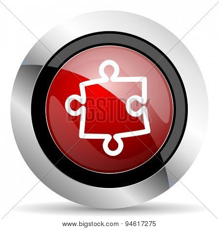 puzzle red glossy web icon original modern design for web and mobile app on white background