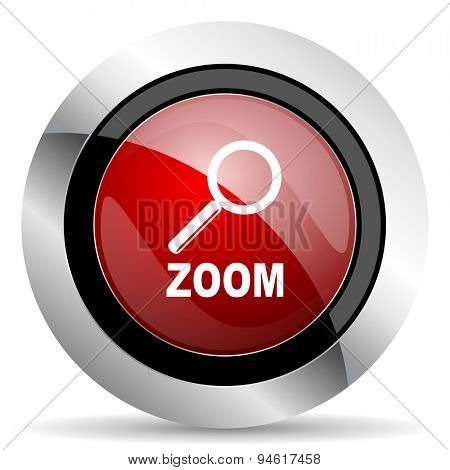 zoom red glossy web icon original modern design for web and mobile app on white background