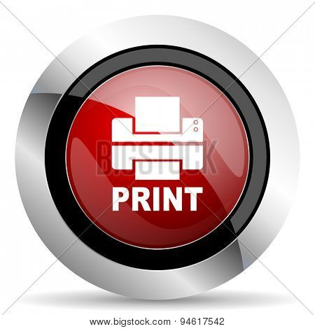 printer red glossy web icon  original modern design for web and mobile app on white background